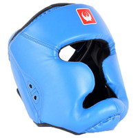 Wholesale Muay Thai Guard - Boxing Head Guard PU Free Combat Head Protector Fully Protected Boxing Free Combat Helmet MMA UFC Monkey Face Muay Thai Fight Head Guard Red