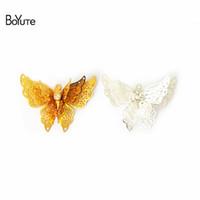 Wholesale Vintage Filigree - BoYuTe 10Pcs 25*35MM Brass Filigree Butterfly Decoration 5 Colors Plated Decorative Butterflies Metal Embellishments Vintage Pendant Charms