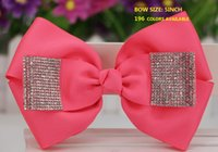 Wholesale Diamonds Czech - HOT SALE 5inch high-quality Czech diamond jojo Hair Bow Claires Dance Cheer for teens girls hair clip headband 196 colors available ! 20pcs