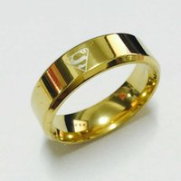 Wholesale Cool Rings For Women - Cool boys girls 8mm 316L stainless steel gold   silver superman hero rings for men women high quality USA size 7-14