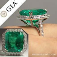 Wholesale Natural Diamond Ring White Gold - CERTIFIED NATURAL COLOMBIAN EMERALD RING 19.34 GIA EMERALD ESTATE 18K