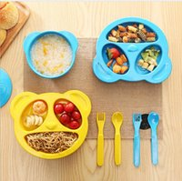 Ins baby Panda Dishes One-Piece Placemat Bowl spoon fork 4 pcs 1set Baby Feeding Bowl Placemat Infant Tableware Divided Bowl LJJK671