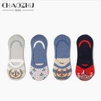 marineboot anker großhandel-Großhandels-CHAOZHU 2017 neue Japanse Trendy Navy Anchor Boot Casual Fußsohle Low Cut Baumwolle Gestrickte Sommer Frauen Mädchen Socken