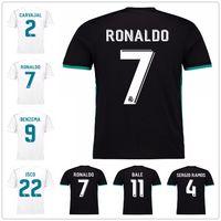 Wholesale Dot Jersey - 2018 new Real Madrid Home white Soccer Jersey 17 18 CR7 Away black soccer shirt Ronaldo Bale Football uniforms Asensio SERGIO RAMOS sales