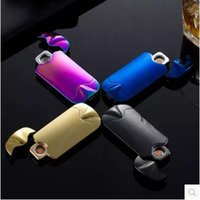 Wholesale Electric Gas Lighter Wholesale - Electric Cigarette Lighter Smoking Accessories Windproof Rechargeable Flameless No Gas Metal Pulse USB Lighters With Box CCA5662 20pcs