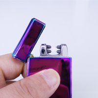 Wholesale Usb Electric Cigarette Lighters - Electric Lighter Dual Arc Metal Flameless Torch USB Rechargeable Windproof Double Arc cigarette cigar Lighters twin arc pulse Lighter
