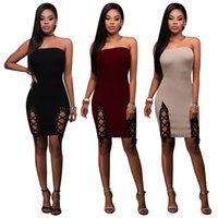 Wholesale Cheap Bandeau - Women Off Shoulder Bodycon Tube Dress Sexy Side Lace Up Party Pencil Mini Dresses Bandeau   3 Color M-XXL   Wholesale Cheap DHL Shipping