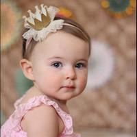 bebek prenses taç kafa bandı toptan satış-2017 5 renkler Bebek Prenses Taç Kafa Bebek Bling Elastik Şapkalar Yenidoğan Bebek Fotoğraf Sahne Dantel Saç Aksesuarları Firkete