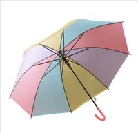 Wholesale Rainbow Transparent Clear EVC Umbrella Long Handle Outdoor Rain Sun Romantic Beach Wedding Colorful Umbrellas PVC for Kids Adult Unisex