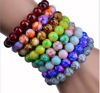 Wholesale Glass Pearl Bead Strands Wholesale - fashion Promotional gifts! 8MM*22 glass beads Imitation Agate like Beads Elastic force Bracelet mix color 100pcs lot