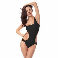 Wholesale Moq One Piece - No MOQ Limited Halter One Piece Beautiful Solid Slimming Ladies American and European Style asymmetrical one piece swimsuit