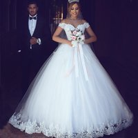 Wholesale Exquisite Wedding Dress Off Shoulder - 2017 Arabic Lace Ball Gown Wedding Dress Off the Shoulder Exquisite Lace Appliques Puffy Tulle Bridal Gowns Custom Made
