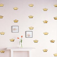 3D Acrylic Mirror Wall Stickers Kids Room Decoração Ouro Prata Princesa Crown Shape Sticker Wall Art Decals Home Décor