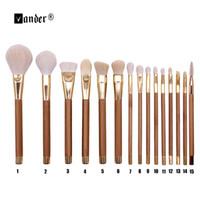 Wholesale Beauty Buffer - Vander 15Pcs Beauty Bamboo Handle Professional Makeup Brushes Set Make Up Brush Tools Kit Eye Shader Liner Crease Definer Buffer