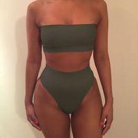 Wholesale Two Piece Black Swimsuit - 2017 Wrapped Chest Bikini Women Two-Pieces Swimsuit Off Shoulder Bra Bikini Set Swimwear Ladies Multicoloured Bathing Suit