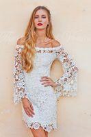 Wholesale Model Crochet Dresses - Bell Sleeves Crochet Lace Boho Hippie Wedding Dress Off shoulder Vintage Inspired 70s Style Short Reception Wedding Dresses 2017
