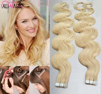 Wholesale Hair Extensions Tape Curly - Hot Sales 20 22 24 26 Inch Tape in Hair Extensions Blonde 100g 40 pieces Malaysian Curly Hair The Best Double-Sided Tape Online