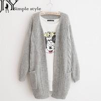 Wholesale B Cardigan - Wholesale-JY.Free Shipping Women Sweater Cardigan Winter Autumn Cardigans Long Sleeve Kinted Solid Warm Feminina Sweater Jacket Coat B