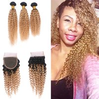 Ombre Blonde Farbe Kinky Curly Hair Bundles mit Lace Closure Zwei Tone 1B 27 Haar webt mit Top Closure 4Pcs / Lot