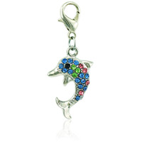 Wholesale rhinestone charm sliders - Brand New Fashion Charms Dangle Rhinestone Dolphin Animals Charms With Lobster Clasp DIY Jewelry Making Accessories