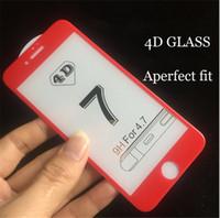 pantalla frontal china al por mayor-Para iphone 7 4D CURVED Protector de pantalla de vidrio Cubierta frontal completa China protectores de pantalla de vidrio templado rojo para iphone 6 6s 7 plus