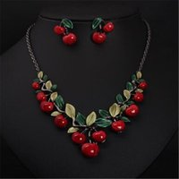 Wholesale cherry jewelry sets resale online - Cherry Pendant Necklace Earrings Set Jewelry Sets Fashion Costume Bridal Necklace Earrings Sets for Women Party Christmas Gift