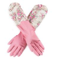 ingrosso guanti a mano in lattice-Guanti lunghi elasticizzati Guanti in gomma, protezione per le mani., Oves Guanti in gomma / lattice per proteggere le mani. Lavare i guanti in inverno.