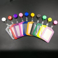 Wholesale 2pcs set Exihibiton ID Name Card Badge Holder Retractable Badge Reel Office School Supplies
