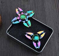 Wholesale Rainbow Tri Spinner Fidget Toy Rainbow Aluminum Alloy Plating Fidget Toys Crab Design Focus Toys Stress Reliever Fidget Spinners