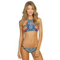 Wholesale New Retro High Neck - 2017 New High Neck Bikini Sets Swimsuit Crop Top Swimwear Retro Floral Printed Beachwear