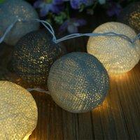 Wholesale Lanterns Cotton Ball String - Wholesale- Aladin 10 LED Cotton Ball Romantic Gorgeous Fairy String Light Lantern Party Wedding Decor Decoration