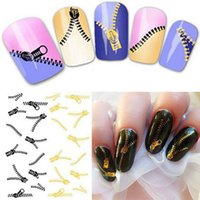 Wholesale Nail Art Zip - New Nail Art Stickers Peacock Feather Zip Style Transfers Decal Free Shipping