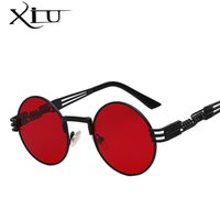 Óculos de sol de luxo do metal Homens Round Sunglass Steampunk Coating Glasses Vintage Retro Lentes Oculos Of Male Sun