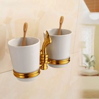 Wholesale Sanitary Toothbrush Holder - 2014Hot -Golden finish double cup holder rack toothbrush holder bathroom accessories sanitary ware bathroom furniture ZP-9355