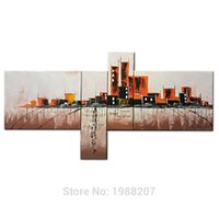 Wholesale Abstract Contemporary Wall Art - City Landscape 100% hand painted Oil Painting 4 Panels Stretched and Framed Contemporary Abstract Wall Art Ready to Hang Decor