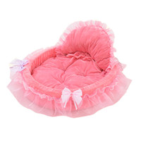 Wholesale Wholesale Princess Beds - 0913 S L HANCHENJOY Indoor Dog Kennels Warm Pink Plush Dog Houses Pet Beds Princess Lence with Bowknot Distributor