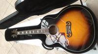 guitarra esquerda da china venda por atacado-OEM canhoto de 43 polegadas Jumbo Sunburst cor acústica guitarra elétrica, parte superior spruce sólida, China fez guitarras estilo J200