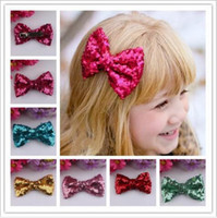 Wholesale Black Crystal Bow Barrette - 2016 New Style Fshion Europe Baby Girls Bow Hairpin For Cute Girls Children Sequins Hairpin Large Bow Hair Clip Jewelry