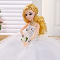Wholesale 3d Real Dolls - Large 2 Colors 3D Real Eye Dress Doll Set Fashion Barbie Dress Doll Toy Wedding Dress Birthday Christmas Gift Game Simulation