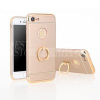 Wholesale Electroplated Rings - Fashion Anti-knock Removable Hybrid 3 in 1 Hard Plastic Case Electroplating Frosted Ring Holder Cover For Iphone 6 7 Plus Galaxy S7 Edge