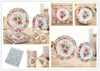 Wholesale Paper Party Set Plate Cup - Wholesale- Free Shipping 75pcs Flower Color Party Tableware Set Wedding Birthday Party Disposable Paper Products Plates Cups Napkin Straw