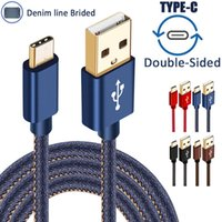 Wholesale Chinese Denim Brands - High Speed Charging 0.25M 1.2M 1.8M Denim Braided Gold Plug USB 3.1 Type-C Data Sync Charger For Samsung galaxy S7 S8 S8 PLUS