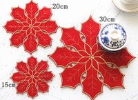 Wholesale Placemats Embroidery - Wholesale- AISONG Christmas Festive red double cloth placemats Christmas Placemat coasters tinsel embroidery christmas snowflake pad