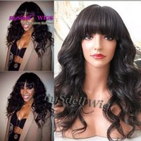 Wholesale wig worn for sale - Group buy neat Bang Fringe style wig medium length Loose curl black color hair wig Natural work wearing wigs for black white women