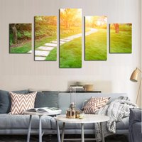 Wholesale Cheap Artwork For Walls - Unframed 5 pcs Modern Forest Path Landscape Pictures Canvas Print Painting Wall Art For Wall Decor Home Decoration Cheap Artwork