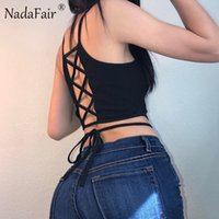 Nadafair без рукавов Backless Criss Cross Lace-up Skinny Summer Women Crop Tops 2017 White Black T рубашки Sexy Casual Camis q170713