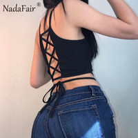 Nadafair Sleeveless Backless Criss Cross Lace-up Skinny Sommer Frauen Ernte Tops 2017 Weiß Schwarz T Shirts Sexy Casual Camis q170713