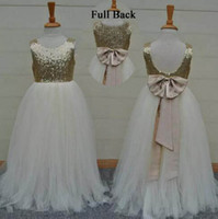 Wholesale Real Samples Wedding Dresses - Real Sample High Quality Flower Girls Dresses Sparkly Gold Sequins Kids Long Formal Wedding Party Gowns Sleeveless Open Back Bow Sash