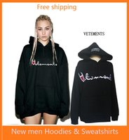 Wholesale Long Black Sweaters - New hot VETEMENTS Hooded sweater star with the oversize letter embroidered men and women plus cashmere loose thick coat
