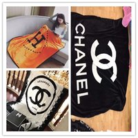 Wholesale High Quality Throws - New fashion brand series black letter blanket 130 * 150CM high quality flannel air conditioning sofa blanket H letter blanket gift